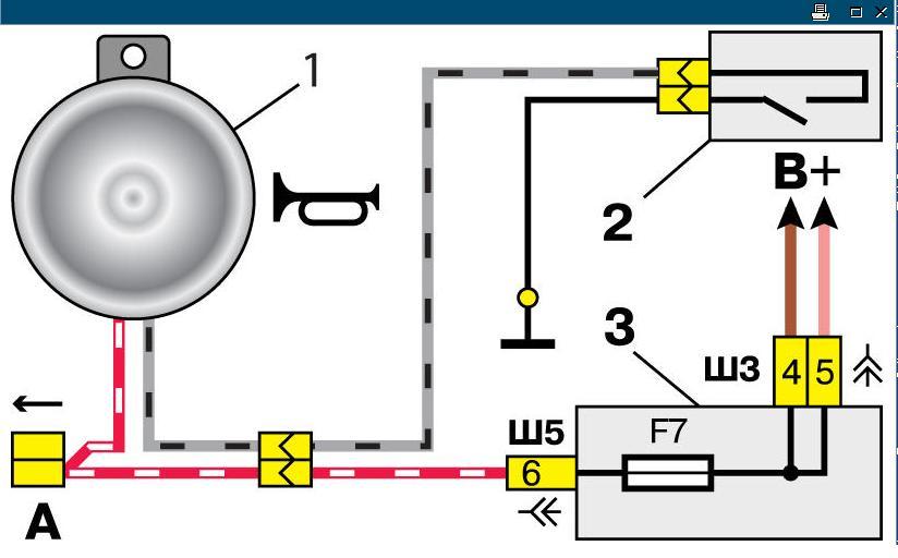звуковой сигнал; 2. выключатель звукового сигнала;3. монтажный блок; А. колодка проводов к электродвигателю...