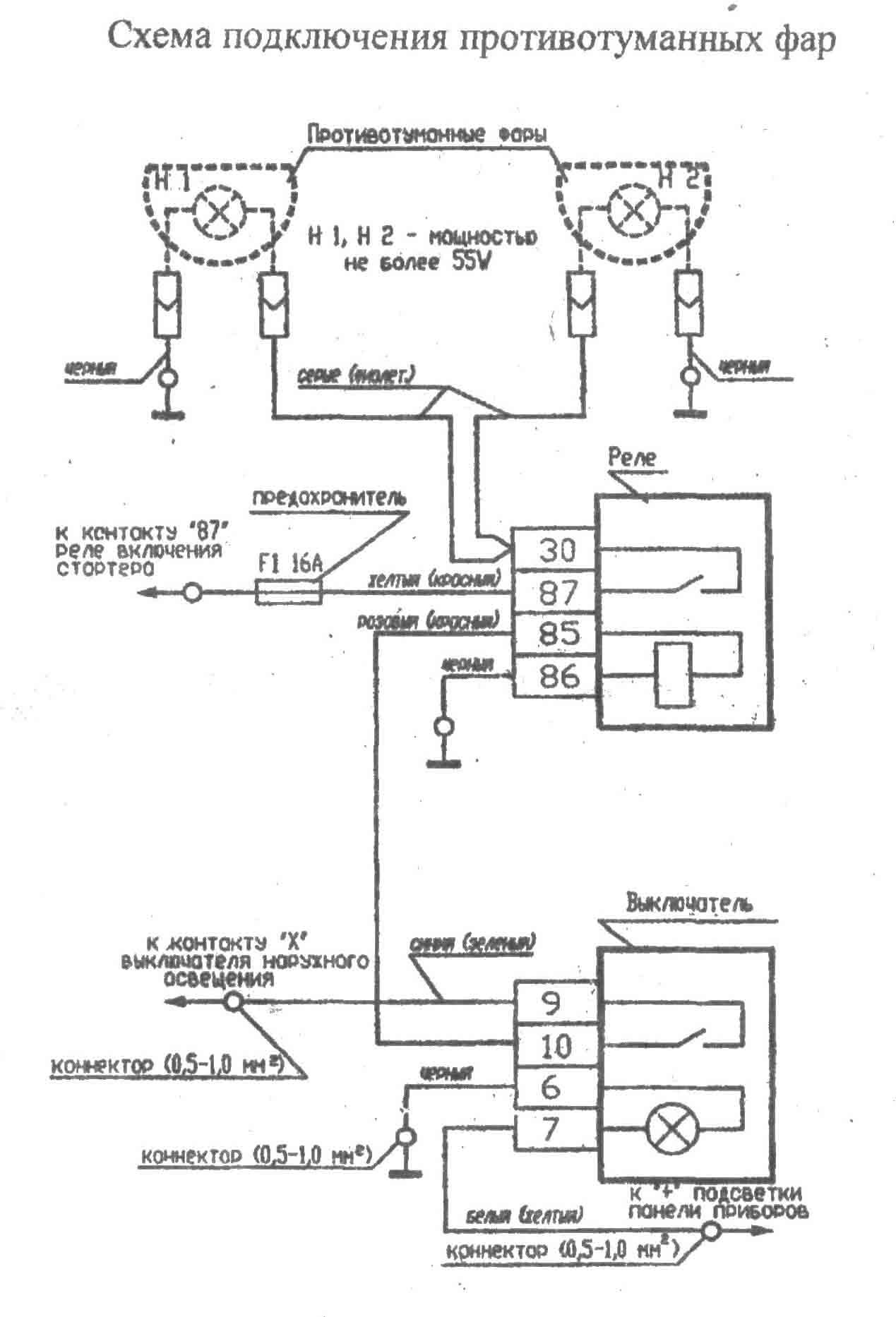 Схема кнопки противотуманных фар